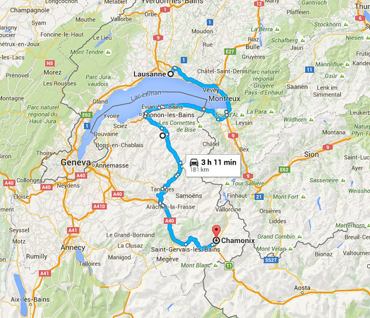 Our scenic drive to Chamonix from Lausanne.  There is a more direct route that takes about 1.5 hours.