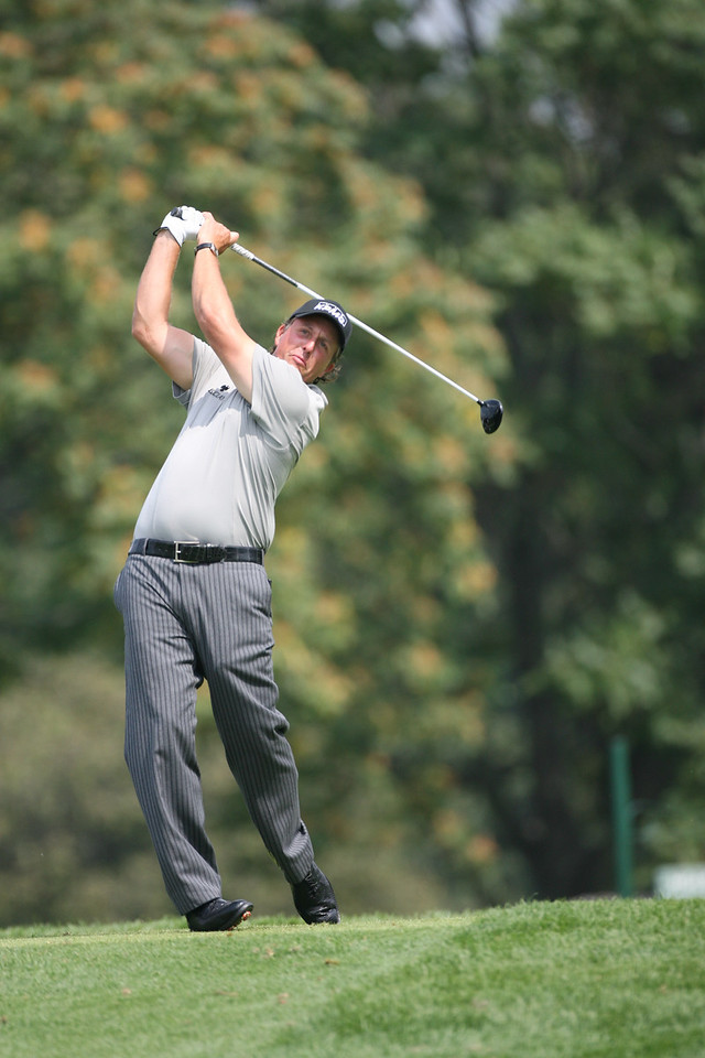 LEMONT, IL - SEPTEMBER 12:  Phil Mickelson hits a shot during the third round of the BMW Championship at Cog Hill Golf & Country Club on September 12, 2009 in Lemont, Illinois. < Frame 12 of 19 >  (Photo by Hunter Martin/Getty Images) *** Local Caption *** Phil Mickelson
