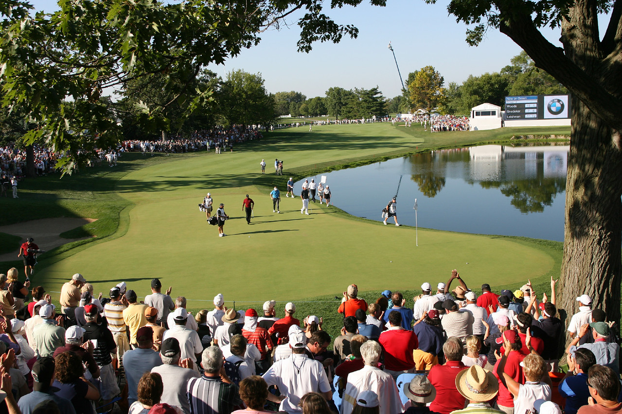 LEMONT, IL - SEPTEMBER 13: The group of Tiger Woods, Brandt Snedeker, and Marc Leishman walk onto the 18th green during the final round the BMW Championship at Cog Hill Golf & Country Club on September 13, 2009 in Lemont, Illinois. (Photo by Hunter Martin/Getty Images) *** Local Caption *** Tiger Woods;Brandt Snedeker;Marc Leishman