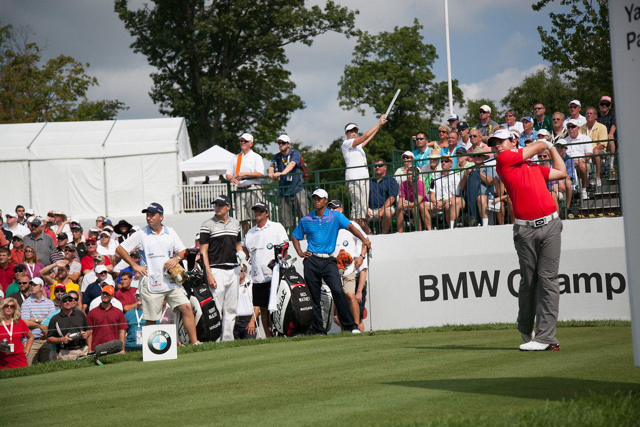 Rory Mcllroy hits his first shot of the day off the 10th tee during first round action at the BMW Championship at Crooked Stick CC in Carmel Indiana on Thursday Sept. 6, 2012. (Charles Cherney/WGA)