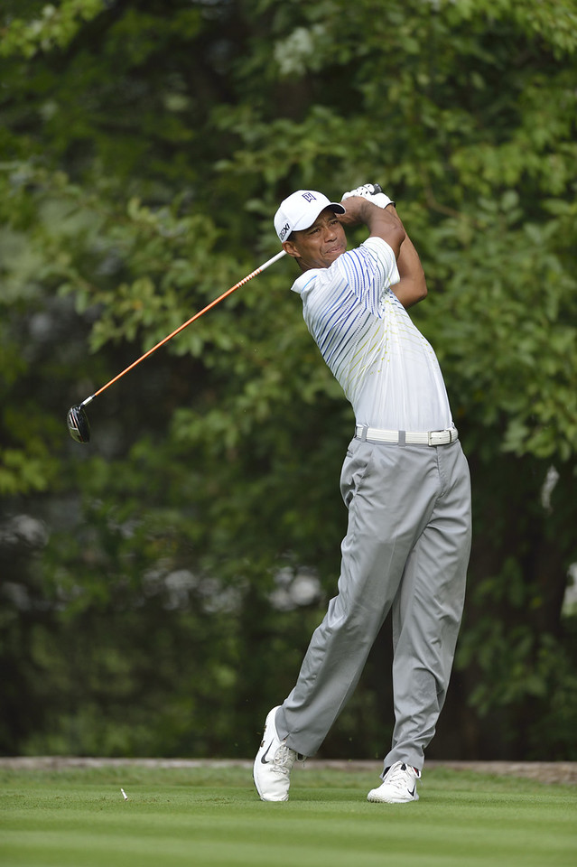 Tiger Woods follows through on a tee shot during the second round of play on Friday, September 7, 2012 at the BMW Championship at Crooked Stick Golf Club in Carmel, IN (Rick Sanchez/WGA).