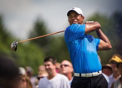 Tiger Woods hits his tee ball on 15 hole during first round action at the BMW Championship at Crooked Stick CC in Carmel Indiana on Thursday Sept. 6, 2012. (Charles Cherney/WGA)
