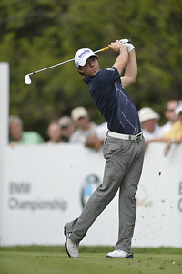 Rory McIlroy watches a tee shot during the second round of play on Friday, September 7, 2012 at the BMW Championship at Crooked Stick Golf Club in Carmel, IN (Rick Sanchez/WGA).