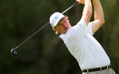 Ernie Els hits his tee ball on 11 during first round action at the BMW Championship at Crooked Stick CC in Carmel Indiana on Thursday Sept. 6, 2012. (Charles Cherney/WGA)