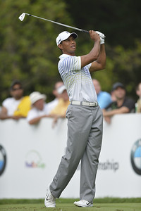 Tiger Woods watches a tee shot during the second round of play on Friday, September 7, 2012 at the BMW Championship at Crooked Stick Golf Club in Carmel, IN (Rick Sanchez/WGA).