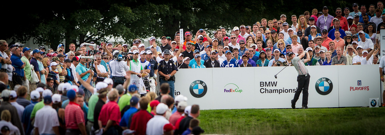 Tory Mciiroy hits his tee shot on 18 during the final round of the 2012 BMW Championship at Crooked Stick Golf Course in Carmel Indiana on Sunday Sept. 9, 2012 (Charles Cherney/WGA)
