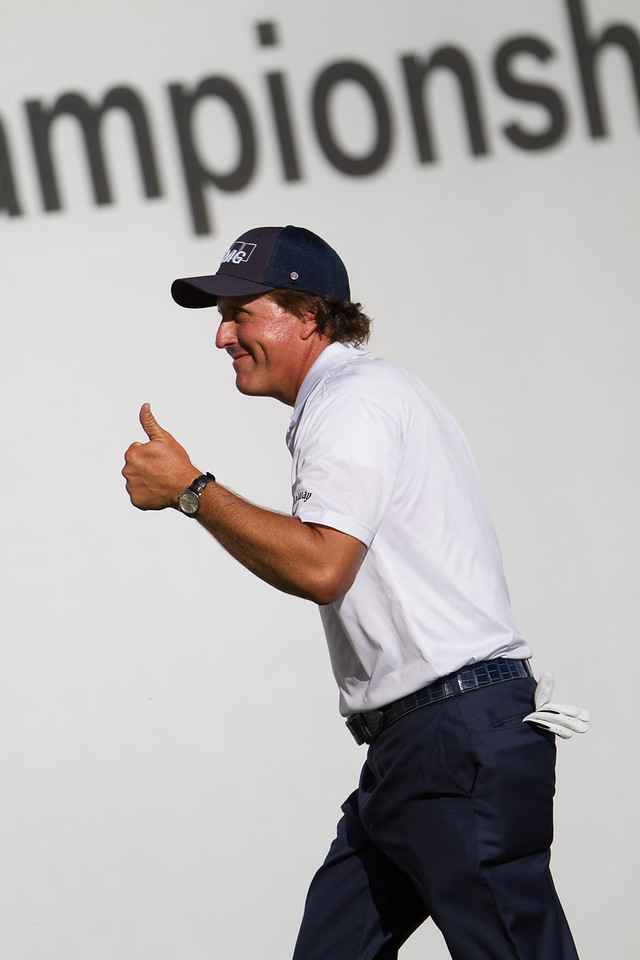 Phil Mickelson is all smiles at the end of his round where he is tied for the lead at the BMW Championship in Carmel Indiana on Saturday Sept. 8, 2012. (Charles Cherney/WGA)