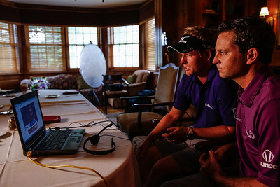 Luke Donald and Mark Wilson participating in a Google+ hangout before their nine-hole exhibition at Conway Farms Golf Club which raised $45,000 for the Evans Scholars Foundation, the sole beneficiary of the BMW Championship.  The BMW Championship, the third of four events in the PGA TOUR's Playoffs for the FedExCup, will be held the week of Sept. 9-15 at Conway Farms. WGA Photo/Charles Cherney)