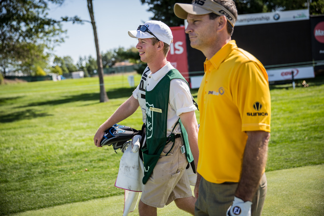 Evan Scholar caddies at the ES Cup on Monday Sept 14, 2015. @Charles Cherney Photography