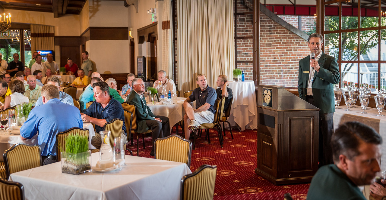 George Solich speaking at the Evan Scholars Cup Outing reception at Cherry Hills CC in Co. on Monday Sept 1, 2014. (WGA/Charles Cherney)