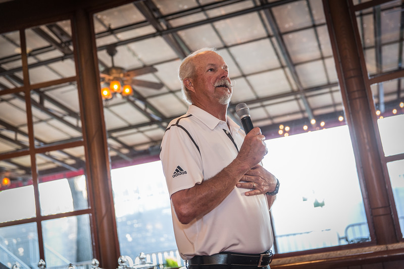 Gary McCord speaks during the Evan Scholars Cup Outing reception at Cherry Hills CC in Co. on Monday Sept 1, 2014. (WGA/Charles Cherney)
