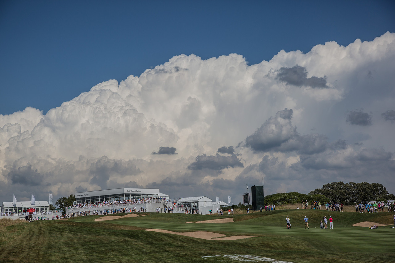 View of the 16th hole during the opening round of the 2013 BMW Championship at Conway Farms on Thurs. Sept. 12, 2013. WGA Photo/Charles Cherney