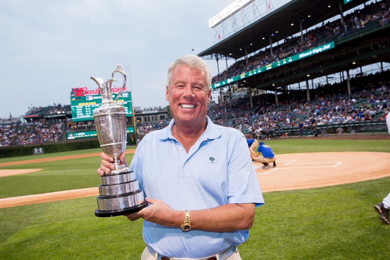 Zach Johnson at Wrigley Field with the Claret Jug on Tuesday Aug. 14, 2015.  Charles Cherney Photography