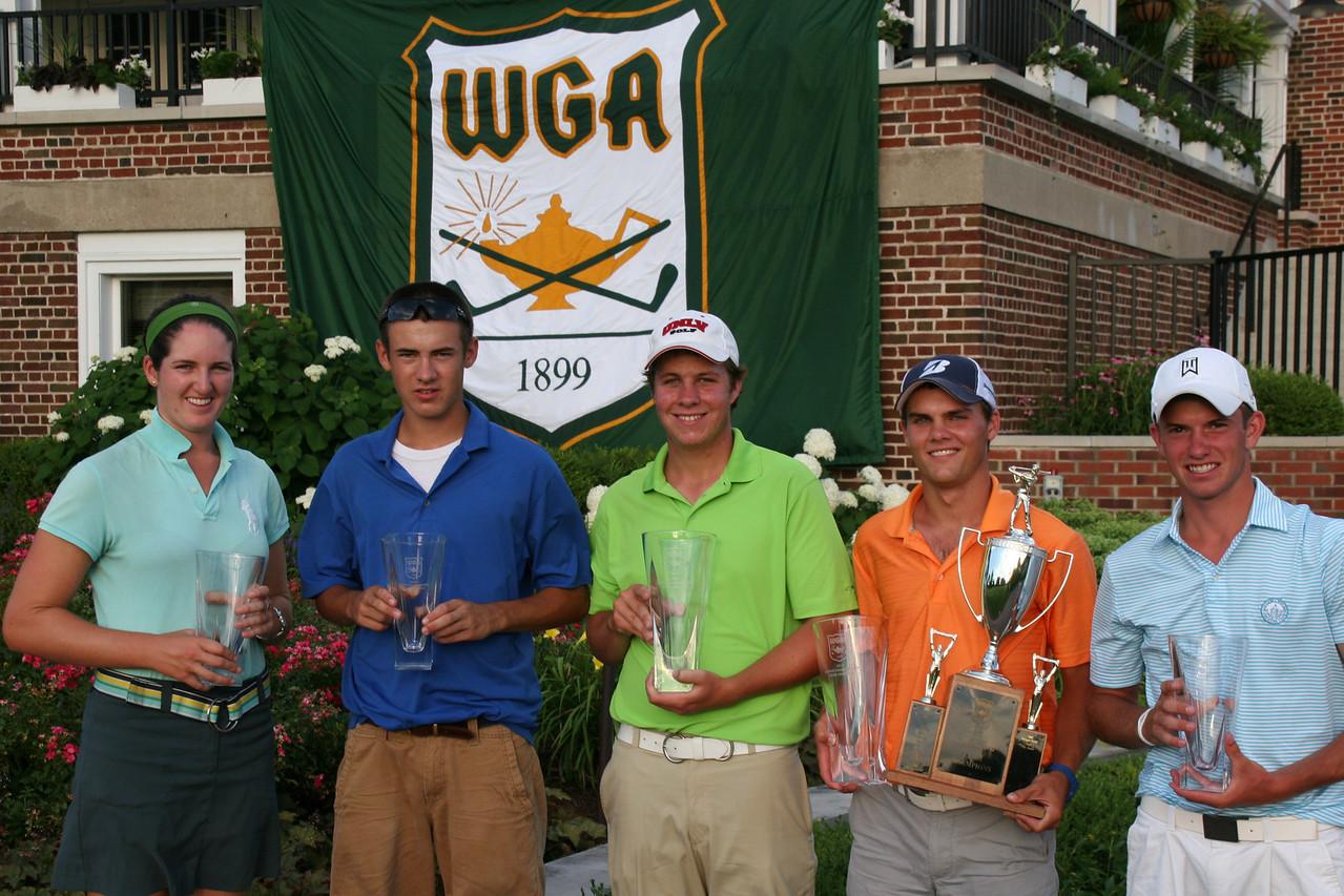 Nora Lucas, Jackson Mihevic, Sean Bustrom, David Flynn & Evan Berna pose with their trophies.