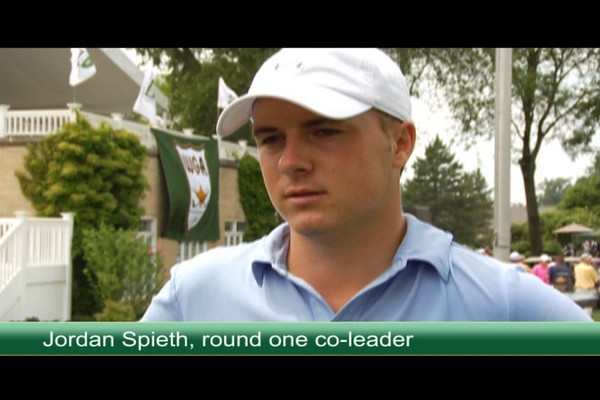 Round one co-leaders Jordan Spieth, 18, of Dallas, Texas, and Chris Williams, 20, of Moscow, Idaho, talk about their experiences on Tuesday.
