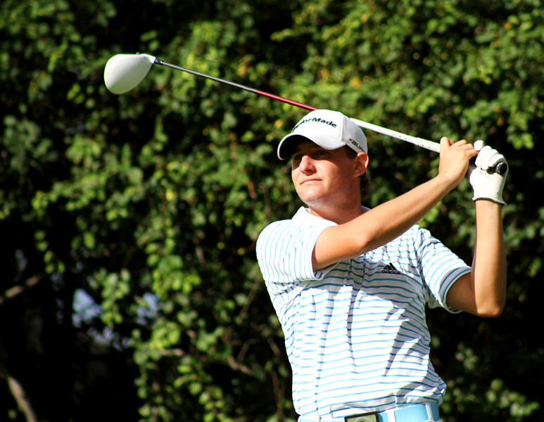 Emiliano Grillo, 17, of Resistencia, Argentina, tees off in Thursday's third round.
