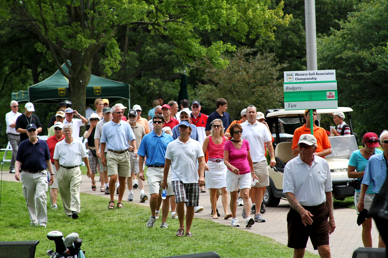Friday's crowd follows the morning match between Patrick Rodgers and Andrew Yun.