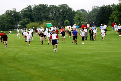 Fans following Saturday morning's match between Patrick Cantlay and Jeffrey Kang.