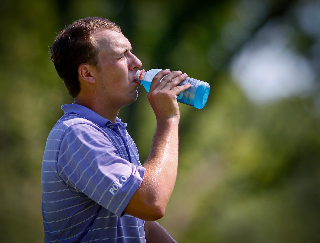 Jordan Spieth, 18, of Dallas, Texas, takes a drink of Gatorade during the fourth round on Thursday.