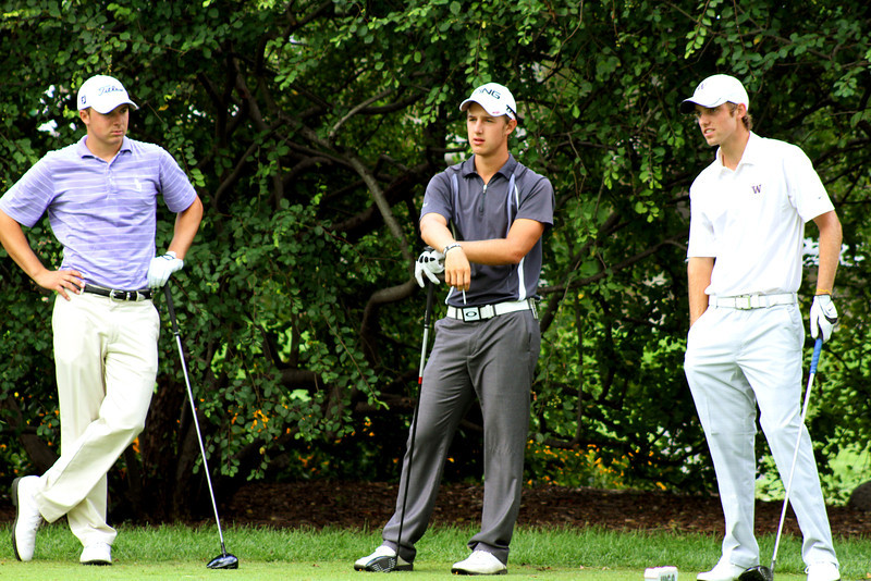 Second round leaders (left to right) Jordan Spieth (2nd), Derek Ernst (3rd) and Chris Williams (1st) wait to tee off in the third round Thursday.