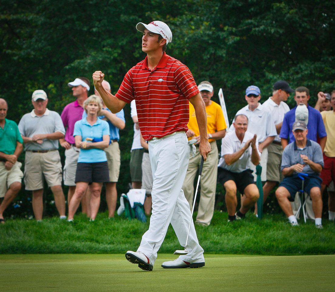 Champion Ethan Tracy, 21, of Hilliard, Ohio, clenches his first after sinking the winning putt in the 2011 Western  Amateur.