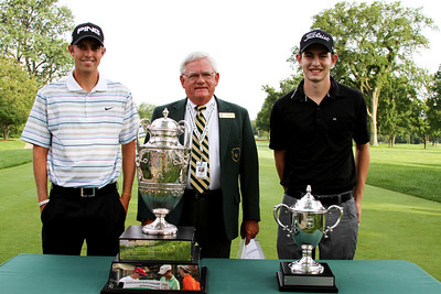 (Left to right) Stroke play medalist Chris Williams, 20, of Moscow, Idaho, WGA official Jerry Williams and No. 1 ranked Amateur Patrick Cantlay, 19, of Los Alamitos, Calif.