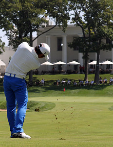 Cheng-Tsung Pan of Taiwan approaches the 18th green in need of a birdie to extend his match at the 2012 Western Amateur Championship at Exmoor Country Club in Highland Park, IL on Friday, Aug. 3, 2012. (WGA Photo/Ian Yelton)