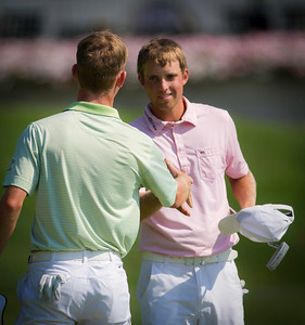 Chris Williams shakes Brandon Stone's hand after winning their quarterfinal match at the 2012 Western Amateur Championship at Exmoor Country Club in Highland Park IL. on Friday, August 3, 2012. (WGA Photo/Charles Cherney)