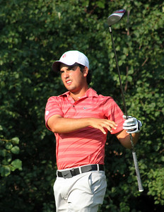 Semifinalist Abraham Ancer stares a morning drive down into the sunat the 2012 Western Amateur Championship at Exmoor Country Club in Highland Park IL. on Saturday, August 4, 2012. (WGA Photo/Ian Yelton)