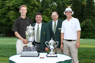 Semifinalists Peter Williamson and Jordan Russell with WGA officials Bob Saliba and John Vitt on the first tee at the 2012 Western Amateur Championship at Exmoor Country Club in Highland Park IL. on Saturday, August 4, 2012. Vitt is president of Exmoor, and Saliba is co-chairman of the club's Western Amateur Committee. (WGA Photo/Ian Yelton)