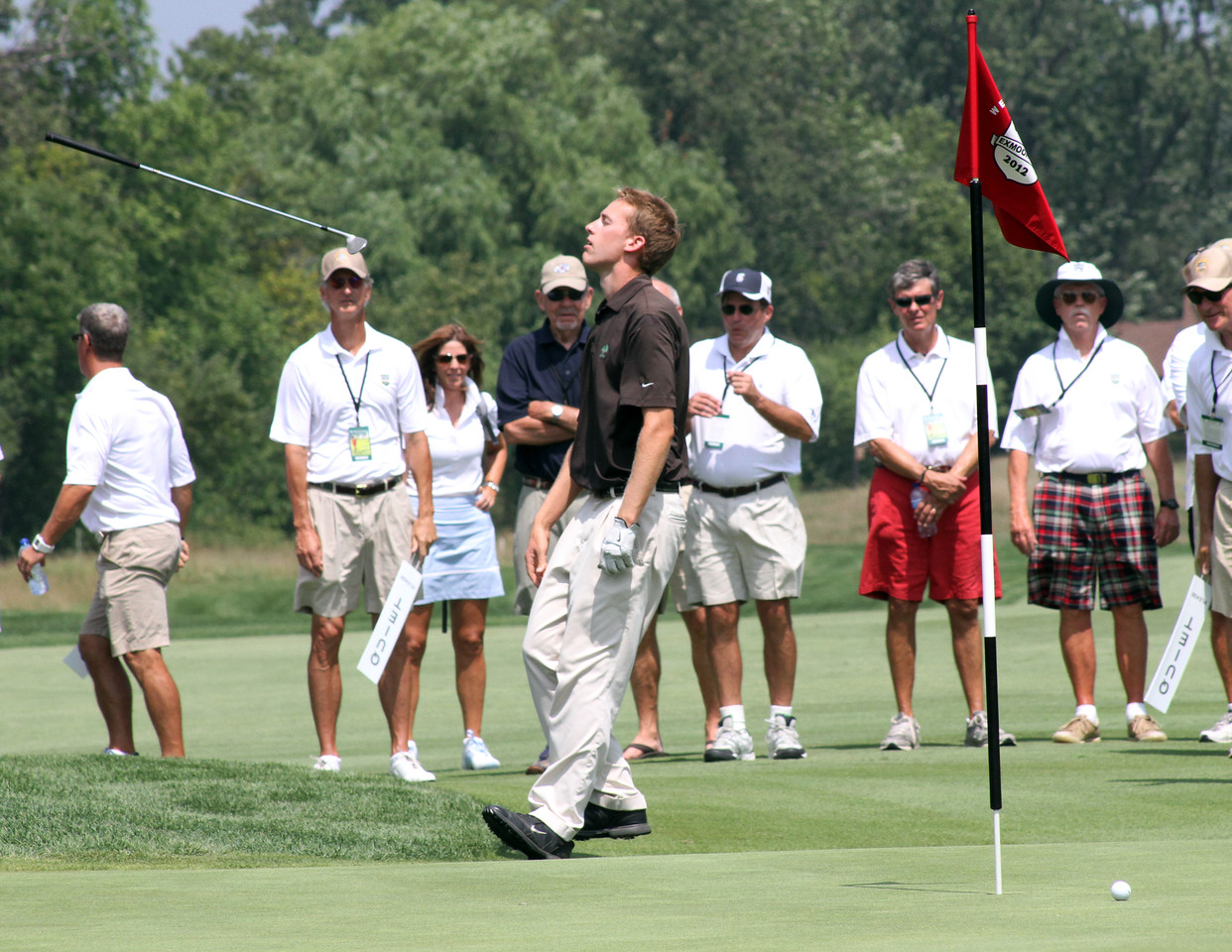 Peter Williamson reacts as his ball slides just past the cup to extend the match to another extra hole. He lost on the 20th hole in his semifinal match of the 2012 Western Amateur at Exmoor Country Club in Highland Park IL. on Aug. 4, 2012. (WGA Photo/Ian Yelton)