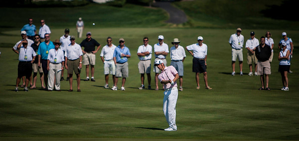 Chris Williams hit his approach shot to the 17th green during the quarterfinals of the match play competiton at the 2012 Western Amateur Championship at Exmoor Country Club in Highland Park IL. on Friday, August 3, 2012. (WGA Photo/Charles Cherney)