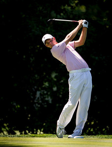 Chris Williams hits his tee shot on 15 during the quarterfinals of the match play competition at the 2012 Western Amateur Championship at Exmoor Country Club in Highland Park IL. on Friday, August 3, 2012. (WGA Photo/Charles Cherney)