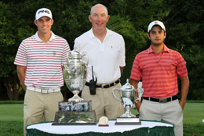 Semifinalists Chris Williams and Abraham Ancer with WGA Chairman Jim Bunch on the first tee at the 2012 Western Amateur Championship at Exmoor Country Club in Highland Park IL. on Saturday, August 4, 2012. (WGA Photo/Ian Yelton)