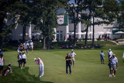 Chris Williams hits his approach shot to the 10th green during the quarterfinals of the match play competition at the 2012 Western Amateur Championship at Exmoor Country Club in Highland Park IL. on Friday, August 3, 2012. (WGA Photo/Charles Cherney)