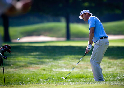 Jordan Russell pitches to the 15th green during the quarterfinals of the match play competiton at the 2012 Western Amateur Championship at Exmoor Country Club in Highland Park IL. on Friday, August 3, 2012. (WGA Photo/Charles Cherney)