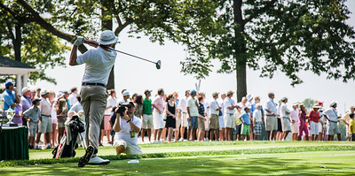 Jordan Russell hits his tee ball at the first hole in the finals of match play at the 2012 Western Amateur Championship at Exmoor Country Club in Highland Park, Ill., on Saturday, August 4, 2012. (WGA Photo/Charles Cherney)