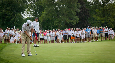 Chris Williams makes a birdie putt on the 11th hole in the finals of match play at the 2012 Western Amateur Championship at Exmoor Country Club in Highland Park, Ill., on Saturday, August 4, 2012. (WGA Photo/Charles Cherney)