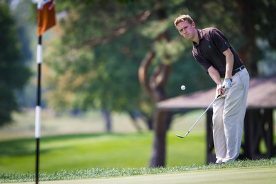 Peter Williamson chips to the first green which was the first playoff hole during the semifinals of match play competition at the 2012 Western Amateur Championship at Exmoor Country Club in Highland Park Ill., on Saturday, August 4, 2012. (WGA Photo/Charles Cherney)