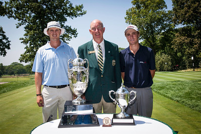 WGA Chairman Jim Bunch with players Jordan Russell (L) and Justin Thomas (R) before the start of the quarterfinals of the match play competition at the 2012 Western Amateur Championship at Exmoor Country Club in Highland Park IL. on Friday, August 3, 2012. (WGA Photo/Charles Cherney)