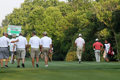 Semifinalists Chris Williams and Abraham Ancer toward the first fairway at the 2012 Western Amateur Championship at Exmoor Country Club in Highland Park IL. on Saturday, August 4, 2012. (WGA Photo/Ian Yelton)