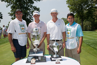 Chris Williams (left center) and Jordan Russell (right center) with their caddies at the start of the finals of match play at the 2012 Western Amateur Championship at Exmoor Country Club in Highland Park, Ill., on Saturday, August 4, 2012. (WGA Photo/Charles Cherney)