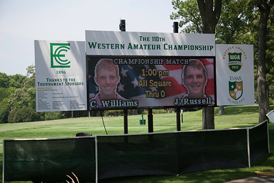 The scoreboard tells the story just before the start of the championship match at the 2012 Western Amateur Championship at Exmoor Country Club in Highland Park IL. on Saturday, August 4, 2012. (WGA Photo/Charles Cherney)