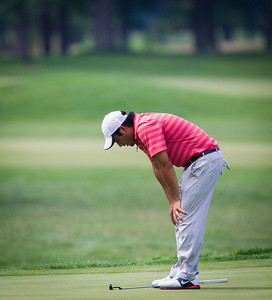 Abraham Ancer reacts after narrowly missing a birdie putt on 18 that would have won the match against Chris Williams during the semifinals of their match play competition at the 2012 Western Amateur Championship at Exmoor Country Club in Highland Park Ill., on Saturday, August 4, 2012. (WGA Photo/Charles Cherney)