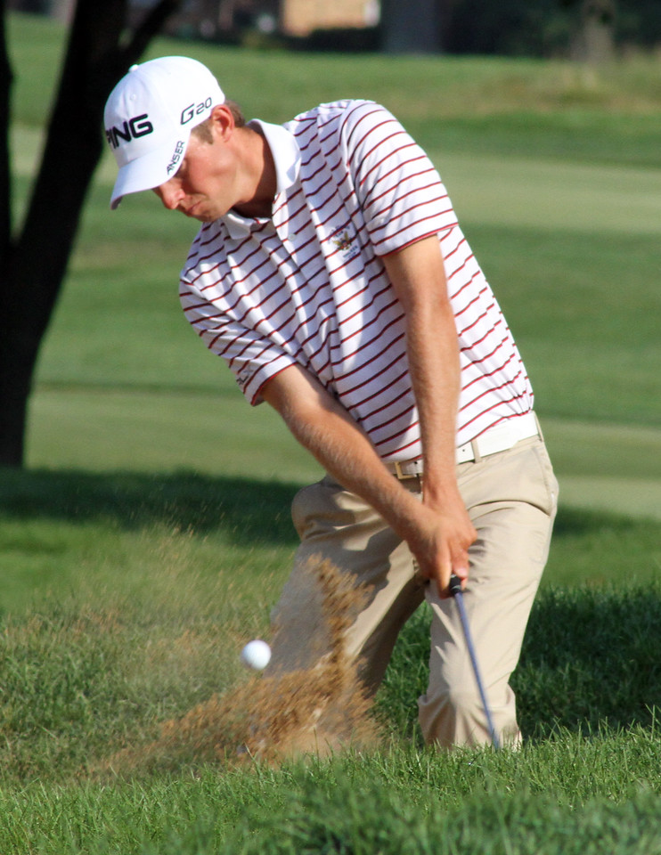 Semifinalist and medalist Chris Williams blast a wedge out of the sand during his semifinal match at the 2012 Western Amateur Championship at Exmoor Country Club in Highland Park IL. on Saturday, August 4, 2012. (WGA Photo/Ian Yelton)