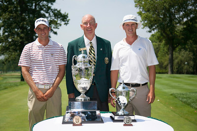 Chris Williams (left) and Jordan Russell (right) with WGA Chairman Jim Bunch in the finals of match play  at the 2012 Western Amateur Championship at Exmoor Country Club in Highland Park, Ill., on Saturday, August 4, 2012. (WGA Photo/Charles Cherney)