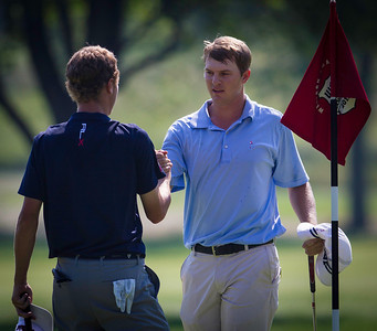 Jordan Russell® shakes Justin Thomas's hand after winning their  quarterfinal match at the 2012 Western Amateur Championship at Exmoor Country Club in Highland Park IL. on Friday, August 3, 2012. (WGA Photo/Charles Cherney)