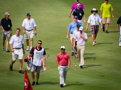 Abraham Ancer and Chris Williams walk to the 18th green during the semifinals of their match play competition at the 2012 Western Amateur Championship at Exmoor Country Club in Highland Park Ill., on Saturday, August 4, 2012. (WGA Photo/Charles Cherney)