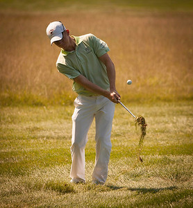 Brandon Stone hits a pitch from the rough to the 17th green during the quarterfinals of the match play competition at the 2012 Western Amateur Championship at Exmoor Country Club in Highland Park IL. on Friday, August 3, 2012. (WGA Photo/Charles Cherney)