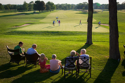 Spectators watching late round play during first round medal play at the 2012 Western Amateur Championship at Exmoor Country Club in Highland Park IL. on Tuesday, July 31, 2012. (WGA Photo/Charles Cherney)